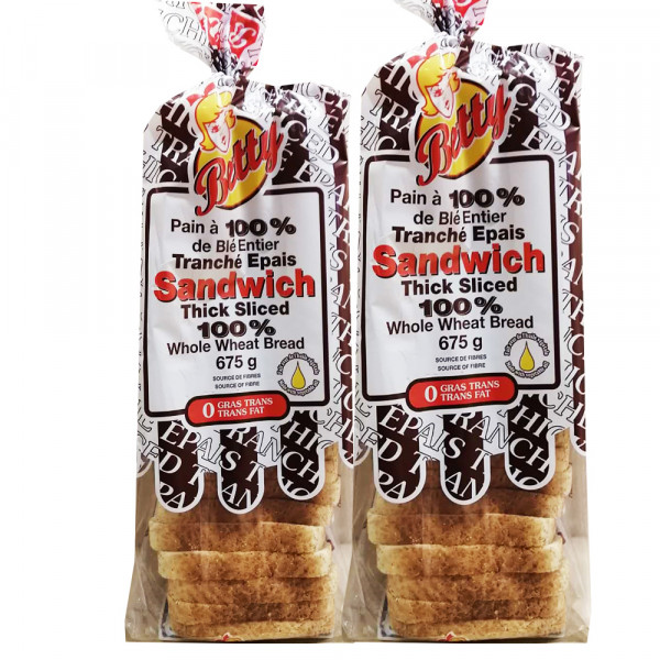 Whole wheat sliced bread - 675g
