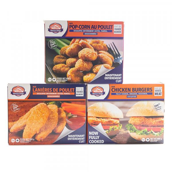 Chicken Bugers / Chicken Popcorn / Chicken strips  - 800g
